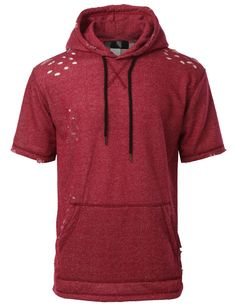 LE3NO Mens Hipster Hip Hop Cut Out Short Sleeve Hoodie Sweatshirt Top