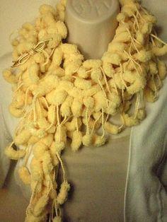 Yellow PomPom Scarf Fall Winter Fashion by madebymandy35 on Etsy