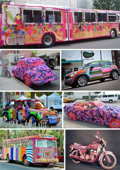 Yarn bombing is graffiti that grandmothers approve of! They consist of quickly knitted additions to street objects and sculptures. Why? Because it's fun!