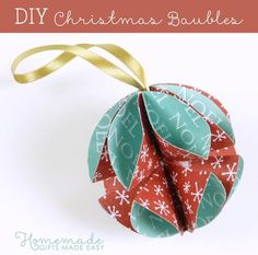 Christmas: Paper Bauble, has instructions with pictures. Source: Homemade Gifts Made Easy.