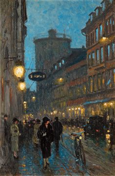 """the-night-picture-collector: """"""""Paul Gustave Fischer ( Danish 1860 - 1934 ) At Dusk in Kobmagergade in Copenhagen with Rundetarn in the Background """" """" Aesthetic Painting, Aesthetic Art, Arte Obscura, Art Hoe, Classical Art, Renaissance Art, Nocturne, Pretty Art, Oeuvre D'art"""