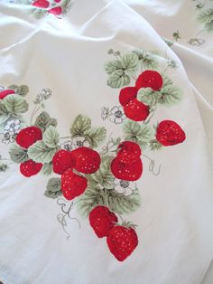 "Strawberries Printed Cotton Tablecloth - Vintage - Red White Strawberry -52"" x 66""  Cottage Farmhouse Kitchen"