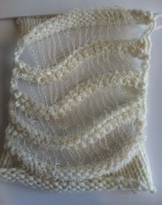 Experimental knit sample with contrasting stitches for pattern & texture; textiles design; knitting inspiration