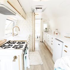 See the before and after photos of a 1976 Land Yacht International Airstream renovation. The prettiest airstream ever.