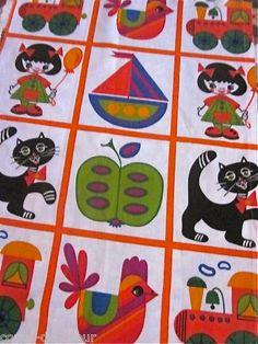 Children's vintage dekoplus fabric//look at those kitties!!!!