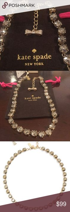 "NWT🔥SALE Kate ♠️ New York Fancy that necklace Flecks of glitter or iridescent facets add sparkle and shine to the stunning row of Swarovski crystals that line this statement-making collar necklace. 16"" length; 3"" extender; 1/4"" width. Lobster clasp closure. 12k gold plate, 12k rose-gold plate, rhodium plate or anodized plate/Swarovski crystal. kate spade Jewelry Necklaces"