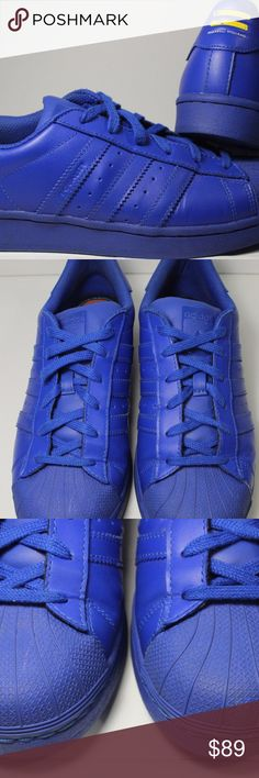 "Adidas Superstar Supercolor Pharrell ""Blue"" SZ 7 100% Authentic Adidas Superstar Supercolor Pharrell ""Bo Blue"" SZ 7 MENS / 8.5 WMNS USED w/ OG BOX  (USED , MIGHT HAVE toe box creasing, dirt on the bottom/around the shoes, etc)  *SHOES MAY APPEAR BRIGHTER or DARKER"" Please google the actual color of sneakers.  Check the pictures for reference just in case we miss anything else with regards to the actual condition of the sneakers.  Also, use the zoom in option!  For more question or if you…"