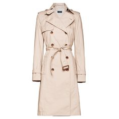 Real vs. Steal Burberry Double Breasted Long Cotton Trench Coat ❤ liked on Polyvore