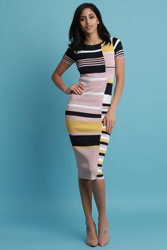 Striped Short Sleeves Rib Knit Midi Dress