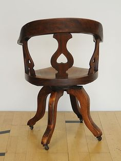 Desk Chair with hand carved saddle seat, pierced back & serpentine legs. Good colour, generous proportions & very comfortable Desk Chair, Swivel Chair, Hand Carved, Stool, Victorian, Carving, Legs, Colour, Table