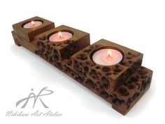 Wooden art sculpture, wooden candleholder, wooden candle holder by NikibarsNatureArt on Etsy Wooden Candle Holders, Wood Tea Light Holder, Candle Tray, Wood Resin, Wooden Art, Mother Day Gifts, Wood Crafts, Tea Lights, Decoration