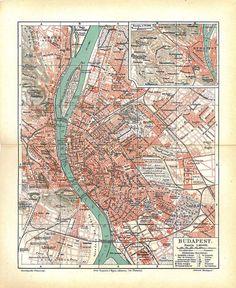 Budapest City Plan Vintage Map Hungary 1923 to Frame by carambas