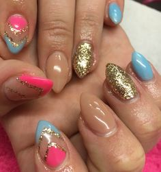 Summer bright acrylic nails #pink #blue #nude #gold #glitter