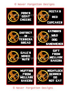 """Hunger Games Custom Food Labels by Never Forgotten Designs. Set out a bowl of """"Nightlock Berries"""" (Blueberries), """"Gale's Mixed Nuts"""", """"Prim's Goat Cheese (Any Cheese)"""", """"Katniss's Wild Dog Sandwiches (Any Sandwiches), """"Muffin's from Mellark's Bakery"""", """"Peeta's Red Cupcakes"""", """"Gift From Mellark Bakery"""" and no party is complete without the tessera bread from District 12 (a loaf of bread) as a great centerpiece! After all, the Hunger Games are all about food, so make your party unique!"""