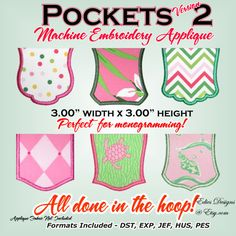 Pockets  Machine Embroidery  Applique Pockets  by EdiesDesigns, $9.00