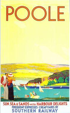 Vintage British Railways Poole Eisenbahn Poster Digitaldruck verschiedene Größen