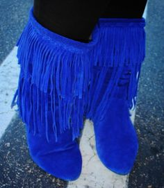Electric Blue Fringe Suede Boots! :) Sam Edelman Utah Boots | They ...