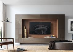 Jesse Open Wall Unit 14 - what a combination of uses!With a hidden TV cable port, all sorts of everything can be tidied away. Wall Unit Designs, Tv Wall Design, Modern Tv Wall Units, Muebles Living, Living Room Tv, Living Area, Tv Unit, Media Unit, Bedroom Wall