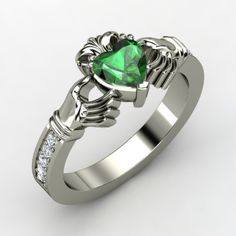 I have wanted a claddagh ring forever! This is so pretty! Emeralds and diamonds :)