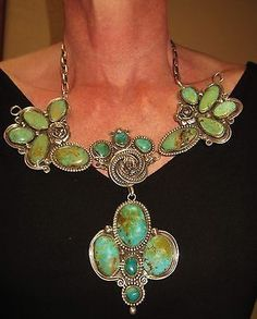 CHAVEZ-SPLENDID-TURQUOISE-ROSES-LARGE-DANGLING-NECKLACE-215grams-Sterling-Silver