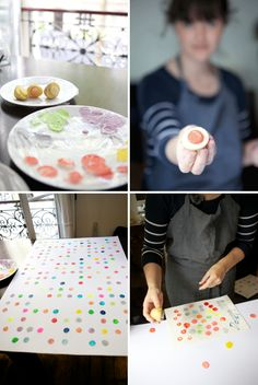 DIY: Potato Prints -- Easy to carve veggie to use for stamping patterns -- make wrapping paper, envelopes, backgrounds. hex print and wrapping paper Simple Artwork, Diy Artwork, Simple Prints, Artwork Prints, Diy Projects To Try, Projects For Kids, Craft Projects, Crafts For Kids, Potato Print