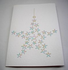 Hand Embroidered Star Christmas Greeting Card by StitchyStationery, £3.50