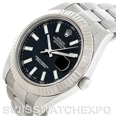 The Rolex Datejust II Mens Steel 18K White Gold Watch 116334 delivers timeless Rolex style in a modern package.