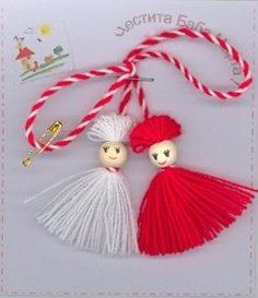 + andere Ideen - Martisoare of March ideas. Doll Crafts, Yarn Crafts, Diy And Crafts, Crafts For Kids, Arts And Crafts, Rakhi Design, Yarn Dolls, How To Make Bookmarks, Crafts For Seniors