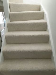 A run of stairs in wool mix carpet Cream Carpet, Stair Carpet, Staircase Design, New Homes, Decor Ideas, Cottage, House Design, Interior, Home Decor