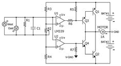 Circuit diagram for the quad comparator based sun tracker Electronic Circuit Projects, Electronic Engineering, Electrical Engineering, Cool Electronics, Electronics Projects, Solar Energy, Solar Power, Solar Tracker, Electrical Diagram