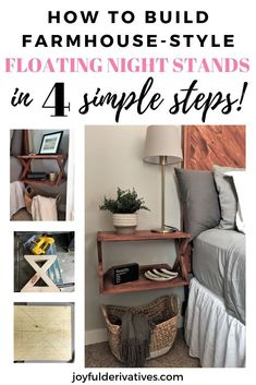 """DIY Floating """"X"""" Side Tables Tutorial – Joyful Derivatives DIY Floating """"X"""" Side Tables Tutorial – Joyful Derivatives,DIY Build Project Ideas Use our step-by-step instructions to build your own DIY floating """"X"""" farmhouse style. Nightstand Plans, Floating Nightstand, Cheap Nightstand, Cheap Home Decor, Diy Home Decor, Unique Bedside Tables, Diy Hanging Shelves, Wall Shelves, Table Setting Inspiration"""