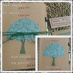 Un cuaderno bonito estampado para trabajar motivado.  A beautiful stamped notebook.