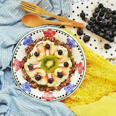Best Ever Healthy Fruit Pizza  This is the same amount of Oats I eat for breakfast, I just turned it into Fruit Pizza!!  OMG. It was love a t first sight! Haha. Or rather love at first bite. Nom Nom.  If you would like a Meat/ Veggie Pizza, you can use this crust too!! Crunchy, Crispy What more do you ask for? :P  And yes, I finished everything for breakfast except one slice for my Aunt. hehehe  Click to find the recipe/ hop over to my Instagram @xyloxin for this recipe!