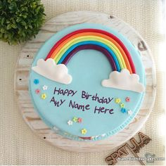 Write Name On Beautiful Rainbow Cake For Kids Birthday