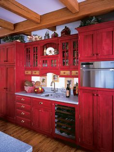 Red Country Kitchen Decorating Ideas perfect red country kitchen cabinet design ideas for small space