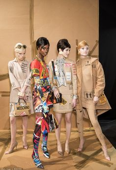 MOSCHINO show MILAN Feb 2017 The show, divided in three distinct phases started off with models wearing beige clothes, ...
