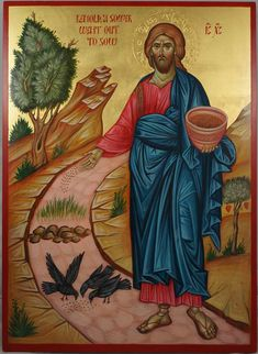 Icon Christ the sower of seeds, hand painted, bible paintings, orthodox iconography, religious icon Byzantine Icons, Byzantine Art, Religious Icons, Religious Art, Images Of Christ, Paint Icon, Russian Icons, Orthodox Icons, Sacred Art