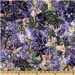 Michael Miller Night Flower Fairies Allover Fairies Nite Purple. Pillowcase and quilt