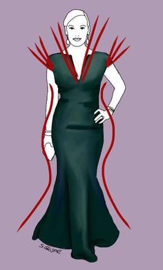 Der Schnitt dieses Abendkleids akzentuiert und verlängert die Kurven der Sanduhr-Figur optimal. Mehr Tipps für Abendkleider gibt es bei www.modefluesterin.de