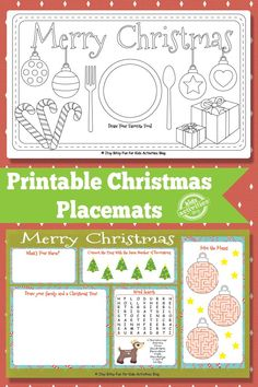 Things can get a bit hectic at the dinner table when everyone is waiting for the food. However these Christmas placemats should keep the little ones busy! Holiday Activities For Kids, Printable Activities For Kids, Free Christmas Printables, Christmas Crafts For Kids, Holiday Crafts, Free Printables, Christmas Worksheets, Santa Crafts, Christmas Recipes