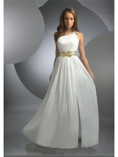 A-line/Princess Bärlbroderi En Axel Floor-length rmlös Chiffong Prom Dress