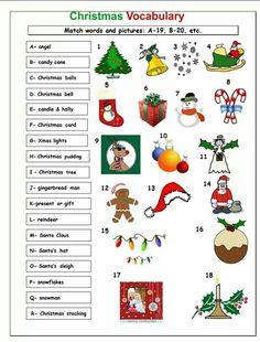Christmas vocabulary Christmas Worksheets, Christmas Activities For Kids, Class Activities, Christmas In England, Christmas And New Year, Christmas Bells, Christmas Cards, Christmas Stuff, English Vocabulary