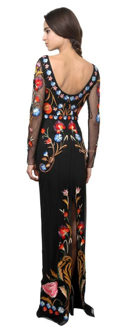 Temperley London Flowers Embroidered On Tulle Dress