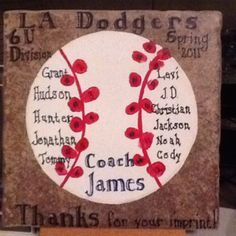Ceramic tile, paint and little boys fingerprints for the laces on the ball. I'd like to try this with football Baseball Pitching, Baseball Boys, Baseball Birthday, Baseball Girlfriend, Hockey Puck, Football, Baseball Coach Gifts, Baseball Crafts, Softball Coach