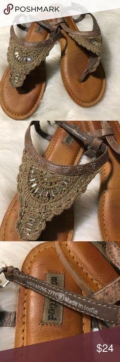 Khaki crochet sandals Size 9. Crochet thong sandals. Beaded. Adjustable buckle. Not Rated Shoes Sandals