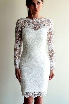 Short Wedding Dress with Sleeves and Illusion by PolinaIvanova