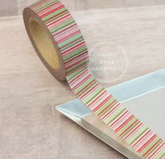 "Striped Washi Tape, Holiday Stripe Washi, 10 Yds, 9/16"", Christmas Washi Tape, Red and Green Tape, Decorative Tape, Envelope Seal by HappyBabeHandmade on Etsy"