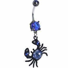 Blue Gem Crab Dangle Belly Ring
