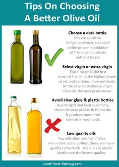 Not all oils are created equal, so here are a few tips to choosing a good virgin olive oil. Virgin olive oil is anti-inflammatory so be sure to get a bit more of it :)
