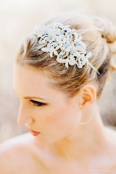 Encrusted Headband with a touch of something Blue. One of our Favorites!  Marisol Aparicio Fall 2013 Preview ||
